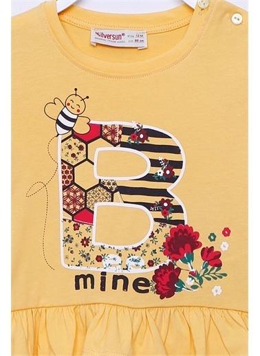 Silversun Kids Baskılı Etek Uçları Fırfırlı Omuzdan Düğmeli Örme Uzun Kollu Tişört Bk-112546 Sarı